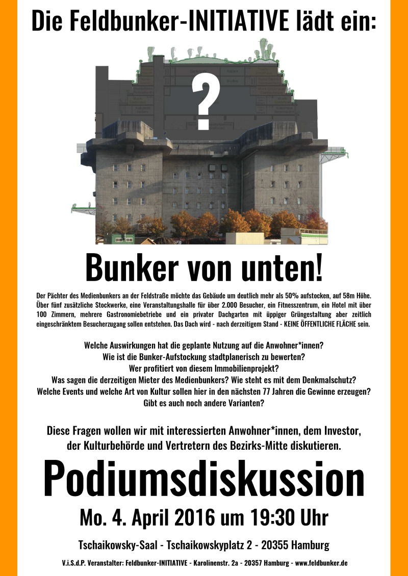 Einladung Podiumsdiskussion: Bunker von unten!
